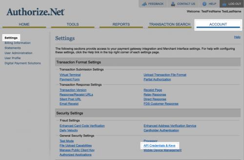 Authorize.net API setup - credentials
